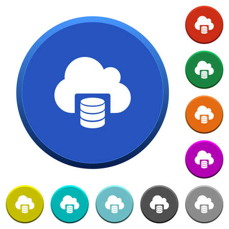 Cloud database round color beveled buttons with smooth surfaces and flat white icons