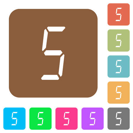 digital number five of seven segment type flat icons on rounded square vivid color backgrounds.