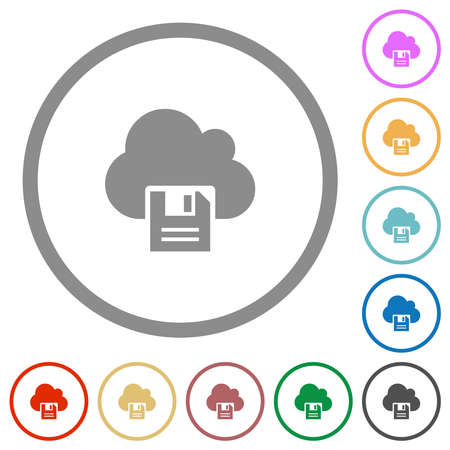 Cloud storage flat color icons in round outlines on white background