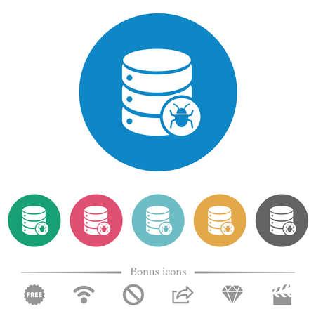 Database bug flat white icons on round color backgrounds. 6 bonus icons included.