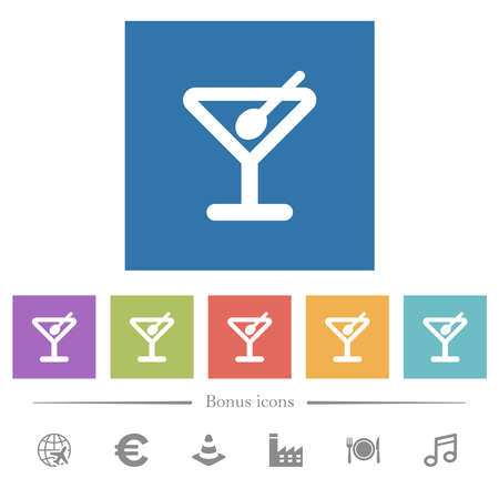 Cocktail flat white icons in square backgrounds. 6 bonus icons included.