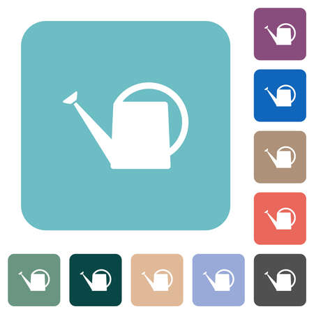 Watering can white flat icons on color rounded square backgrounds