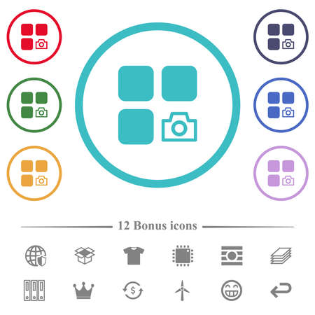 Component snapshot flat color icons in circle shape outlines. 12 bonus icons included. Ilustração