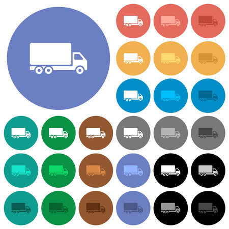 Freight car multi colored flat icons on round backgrounds. Includes white, light and dark icon variations for hover and active status effects, and bonus shades.