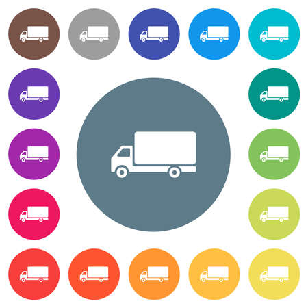 Freight car flat white icons on round color backgrounds. 17 background color variations are included.