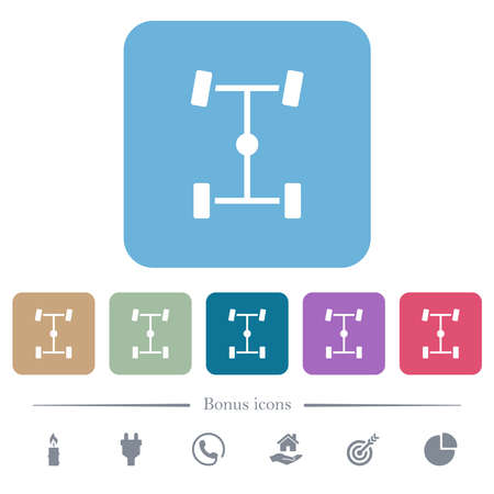 Central differential white flat icons on color rounded square backgrounds. 6 bonus icons included Vector Illustration