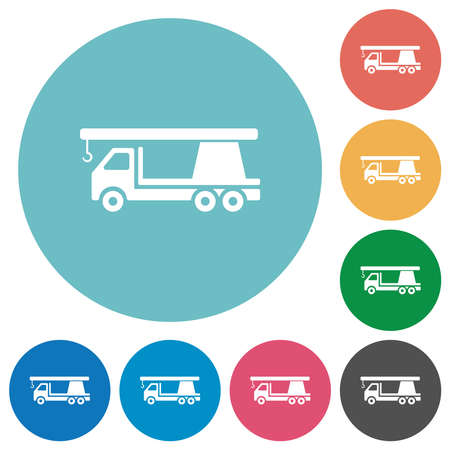 Crane truck flat white icons on round color backgrounds