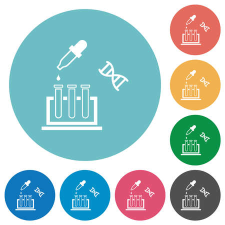 DNA experiment flat white icons on round color backgrounds Ilustração Vetorial