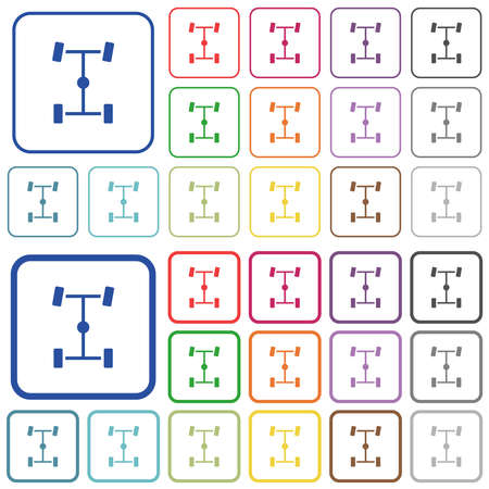 Central differential color flat icons in rounded square frames. Thin and thick versions included.