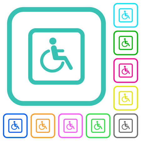 Handicapped parking vivid colored flat icons in curved borders on white background