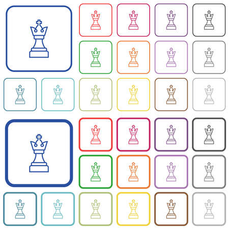 White chess king color flat icons in rounded square frames. Thin and thick versions included.