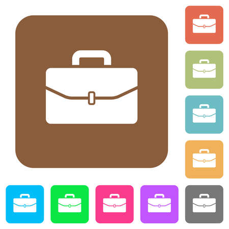 Satchel with one buckle flat icons on rounded square vivid color backgrounds.