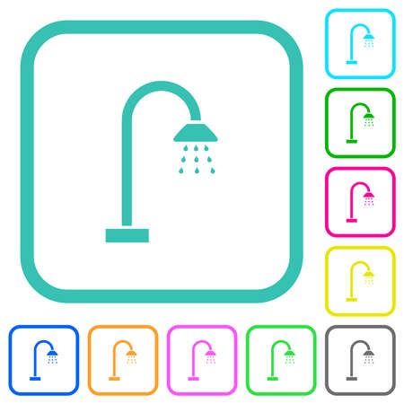 Shower vivid colored flat icons in curved borders on white background