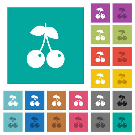 Pair of cherry multi colored flat icons on plain square backgrounds. Included white and darker icon variations for hover or active effects. Stock Illustratie