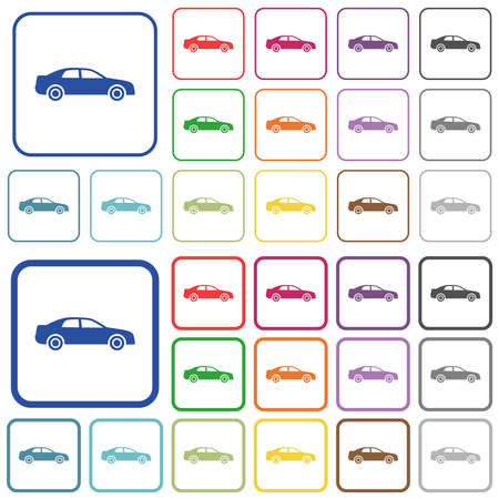 Car color flat icons in rounded square frames. Thin and thick versions included.