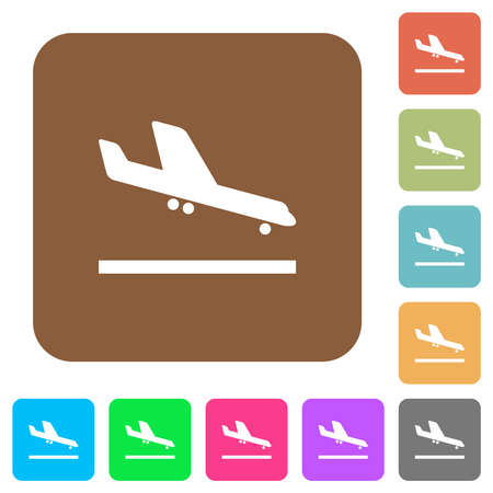 Airplane landing flat icons on rounded square vivid color backgrounds. Stock Illustratie