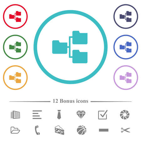 Shared folders flat color icons in circle shape outlines. 12 bonus icons included. Vettoriali