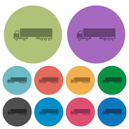 Camion darker flat icons on color round background Stock Illustratie