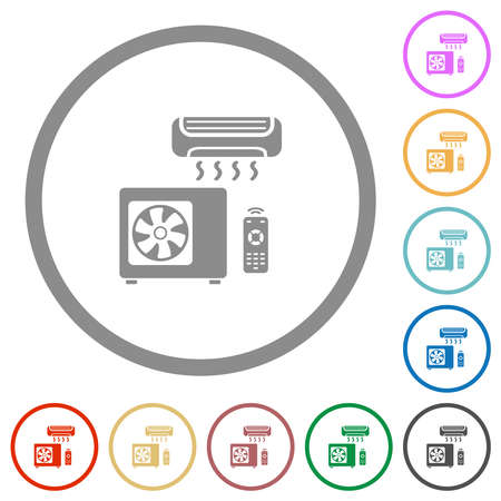 Air conditioning system flat color icons in round outlines on white background Stock Illustratie