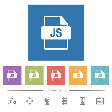 JS file format flat white icons in square backgrounds. 6 bonus icons included.
