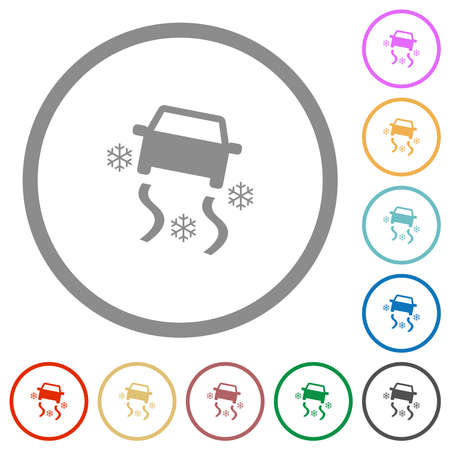 Snowy road dashboard indicator flat color icons in round outlines on white background Stock Illustratie