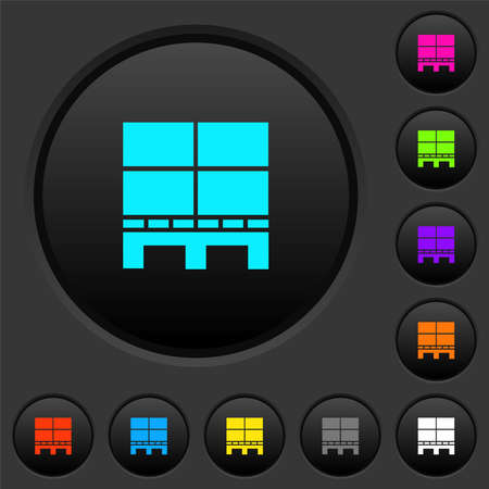 Pallet with boxes dark push buttons with vivid color icons on dark gray background