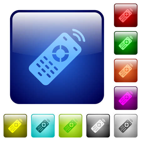 Working remote control icons in rounded square color glossy button set