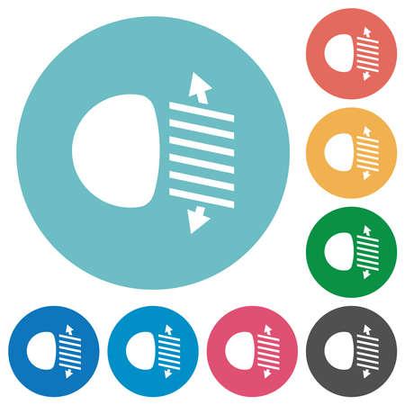 Headlight level adjustment flat white icons on round color backgrounds