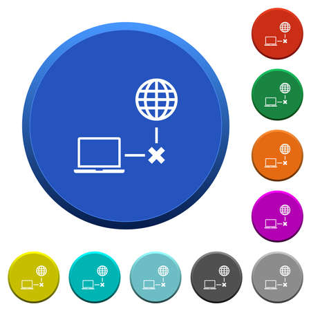 Offline laptop round color beveled buttons with smooth surfaces and flat white icons