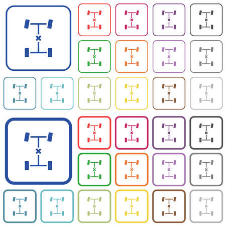 Central differential lock color flat icons in rounded square frames. Thin and thick versions included. Vector Illustration