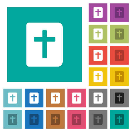 Holy bible multi colored flat icons on plain square backgrounds. Included white and darker icon variations for hover or active effects.