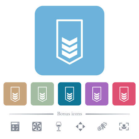 Military insignia with three chevrons white flat icons on color rounded square backgrounds. 6 bonus icons included
