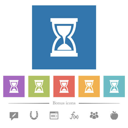 Hourglass flat white icons in square backgrounds. 6 bonus icons included.