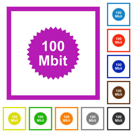 100 mbit guarantee sticker flat color icons in square frames on white background