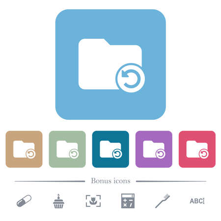 Undo directory last operation white flat icons on color rounded square backgrounds. 6 bonus icons included