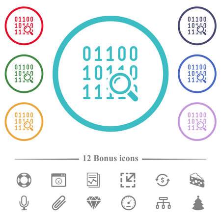 Code analysis flat color icons in circle shape outlines. 12 bonus icons included. Illustration