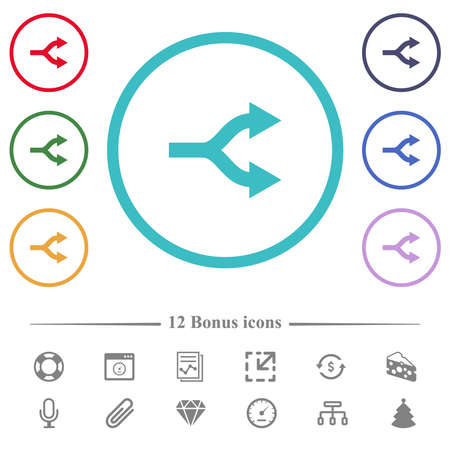 Split arrows right flat color icons in circle shape outlines. 12 bonus icons included.