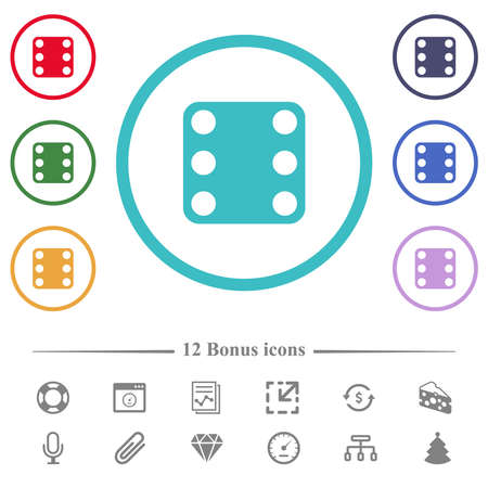 Domino six flat color icons in circle shape outlines. 12 bonus icons included.