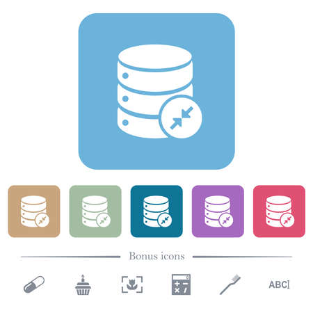 Shrink database white flat icons on color rounded square backgrounds. 6 bonus icons included