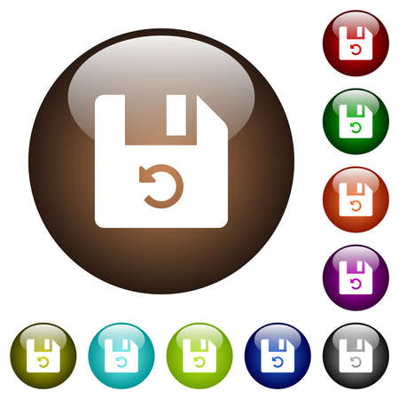 Undo last file operation white icons on round glass buttons in multiple colors Vecteurs