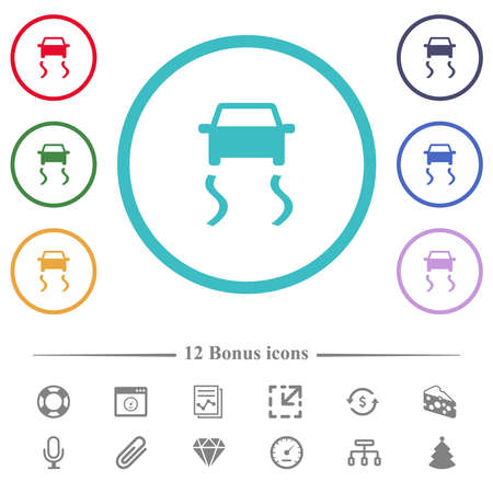 Slippery road dashboard indicator flat color icons in circle shape outlines. 12 bonus icons included.