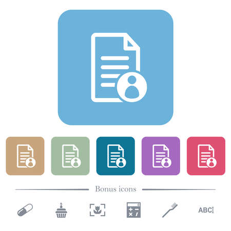 Document owner white flat icons on color rounded square backgrounds. 6 bonus icons included