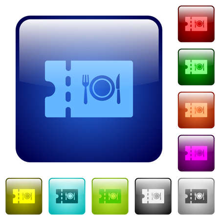 Eating discount coupon icons in rounded square color glossy button set Banque d'images - 166056302