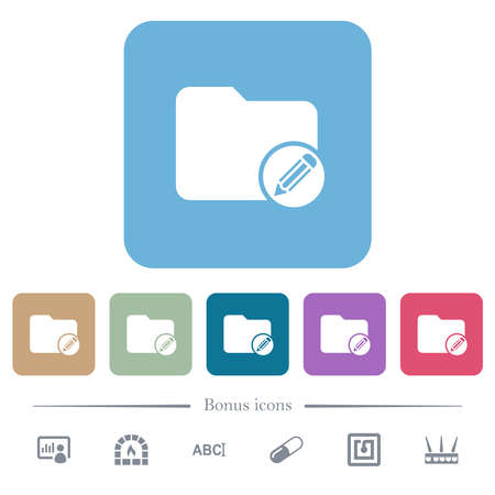 Edit directory white flat icons on color rounded square backgrounds. 6 bonus icons included Vecteurs