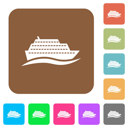 Cruise ship with wave flat icons on rounded square vivid color backgrounds.