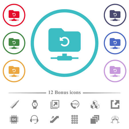 FTP undo flat color icons in circle shape outlines. 12 bonus icons included. Vecteurs