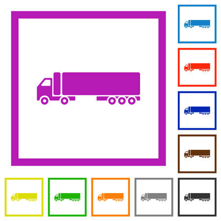 Camion flat color icons in square frames on white background