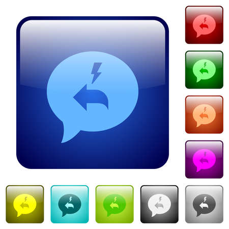Quick reply message icons in rounded square color glossy button set