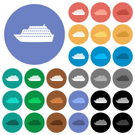 Cruise ship multi colored flat icons on round backgrounds. Includes white, light and dark icon variations for hover and active status effects, and bonus shades.