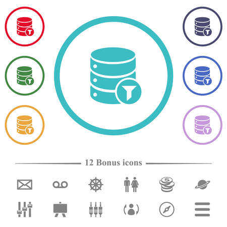 Database filter flat color icons in circle shape outlines. 12 bonus icons included.